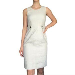 J crew suiting beige linen knee length dress